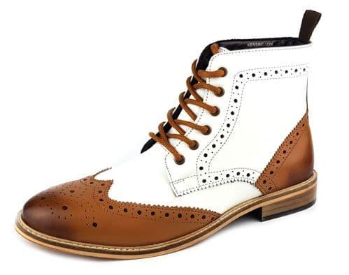 Frank James - Kensington Tan / White Brogue Lace Boots Brogue Lace Boots